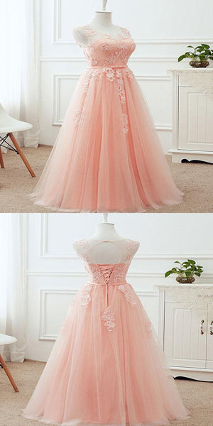 Alluring A-Line Scoop Neckline Tulle Long Prom Dresses With Appliques,VPPD187