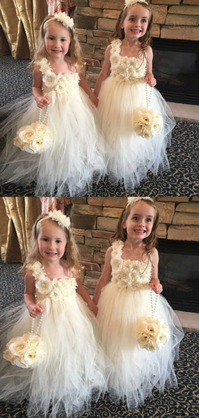 Cute A-Line One Shoulder Tulle Flower Girl Dresses With Flowers,FG188