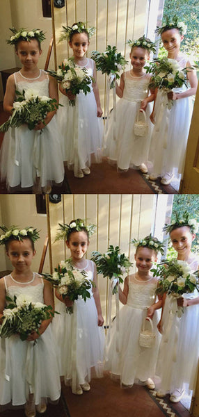 A-Line Round Neck Sleeveless Long Flower Girl Dresses With Appliques,FG189