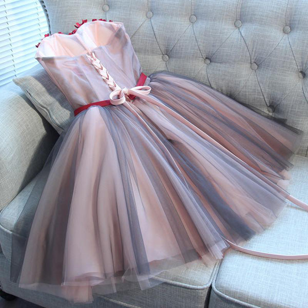 Cute Sweetheart Tulle Short Homecoming Dresses With Appliques,Affordable Homecoming Dresses,VPBD182