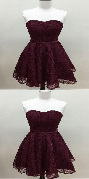 2019 Cute Simple Maroon Short Lace Homecoming Dresses With Sweetheart Neckline,VPBD019