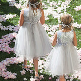 A-Line Round Neck Sleeveless Sequined Flower Girl Dresses With Flower,FG190