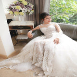 Fabulous A-Line White See Through Lace Sweep Train With Long Sleeves,Custom Made Bridal Dresses,Affordable Wedding Dresses,VPWD191