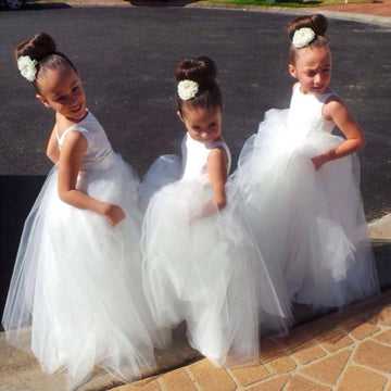 A-Line Round Neck Sleeveless Open Back Tulle Long Flower Girl Dresses With Lace,FG191