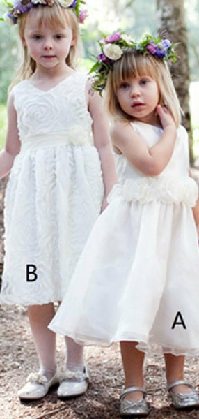 A-Line Sleeveless Tea Length Flower Girl Dresses With Flowers,FG192