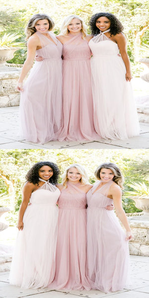Elegant Tulle Sweetheart Long Bridesmaid Dresses With Halter,Custom Made Bridesmaid Dresses,VPWG192