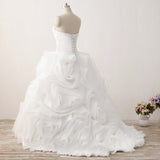 Gorgeous White A-Line Strapless Organza Ball Gowns,Elegant Floor Length Wedding Dresses,VPWD192