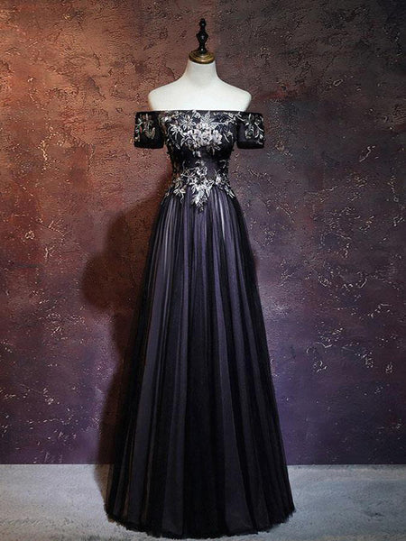 Charming A-Line Off Shoulder Black Tulle Long Prom Dresses With Appliques,VPPD192