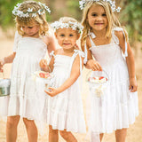 A-Line Spaghetti Straps Knee Length Flower Girl Dresses With Ruffles,FG193