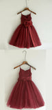 A-Line V-Neck Spaghetti Straps Burgundy Tulle Flower Girl Dresses With Flowers,FG194