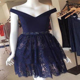 2020 A-Line Dark Navy Off Shoulder Lace Short Homecoming Dresses,VPBD194