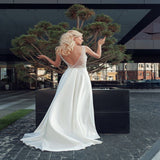 Terrific Soft Satin Scoop Neckline Long Wedding Dresses With Sleeveless,Sexy Backless Floor Length Wedding Bridal Dresses,VPWD194