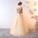 Stylish A-Line Scoop Neckline Sleeveless Tulle Prom Dresses With Beading,VPPD195