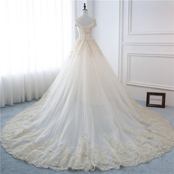 New Arrival A-Line Off Shoulder Sweep Train,Champagne Long Wedding Dresses With Lace Up Back,VPWD196