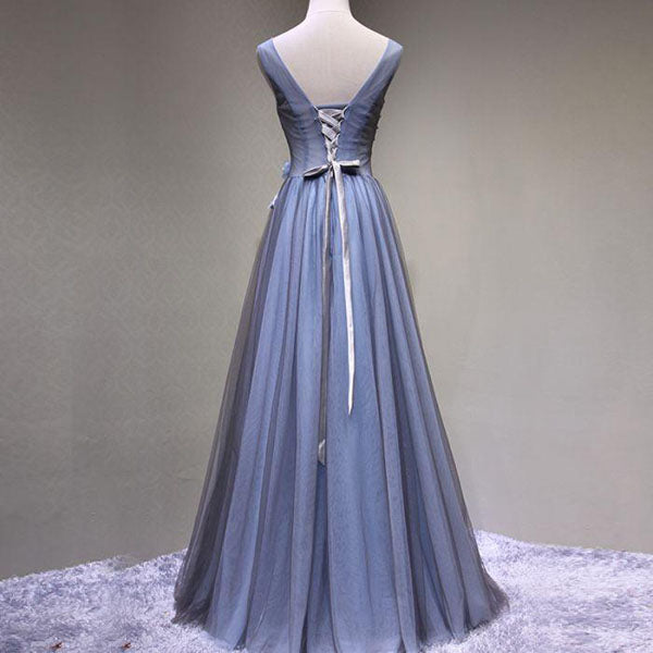 A-Line V-Neck Tulle Appliqued Sleeveless Blue Long Prom Dresses,VPPD199