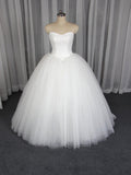 2019 Lace Strapless Elegant White A-line Tulle Wedding Dresses, Affordable Ball Gown Bridal Dresses,VPWD023