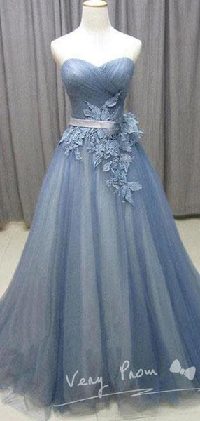 Tulle Sweetheart Sweep Train A-line Prom Dresses With Appliques,VPPD007