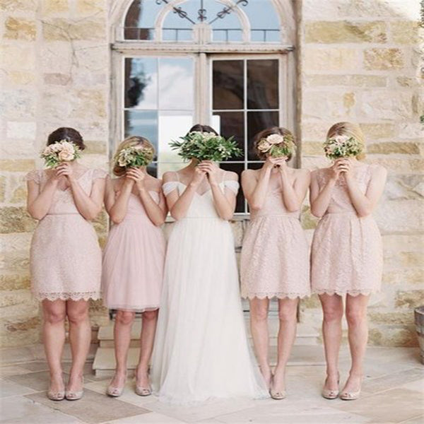 Pretty Mismatched Light Pink Lace Bridesmaid Dresses,Custom Made Short Bridesmaid Dresses,VPWG201