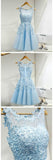 New Arrival Light Blue Tulle A-Line Short Homecoming Dresses With Appliques,VPBD202