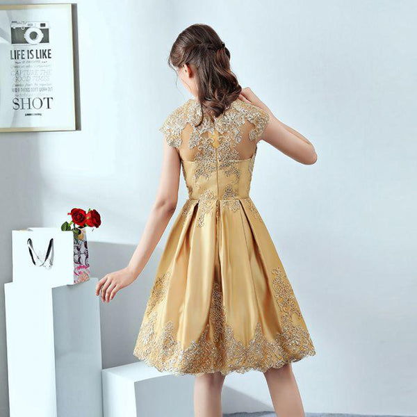 Gorgeous Gold  A-Line Short Homecoming Dresses With Appliques,Affordable Homecoming Dresses,VPBD203