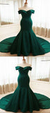 Mermaid Off Shoulder Green Satin Long Prom Dresses,VPPD207