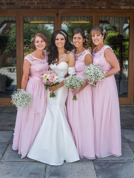 A-Line Scoop Neckline Pink Chiffon Long Bridesmaid Dresses With Lace,VPWG207