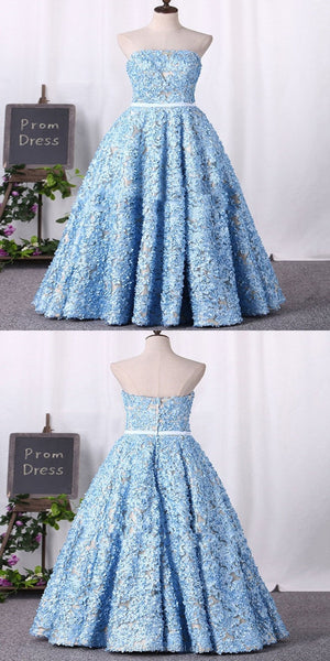 New A-Line Strapless Blue Floor Length Prom Dresses With Lace,VPPD208
