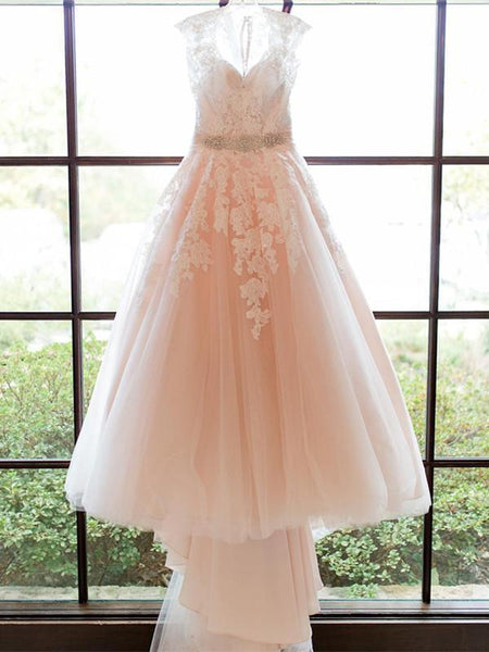 Stunning Tulle V-Neck A-Line Wedding Dresses With Appliques,Cap Sleeve Long Wedding Dresses,VPWD172