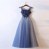 A-Line Scoop Neckline Tulle Long Prom Dresses With Appliques,VPPD212