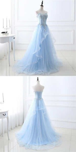 A-Line Sweetheart Tulle Blue Appliqued Prom Dresses With Beading,VPPD217