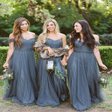 A-Line Grey Off Shoulder Tulle Long Bridesmaid Dresses Online,VPWG217