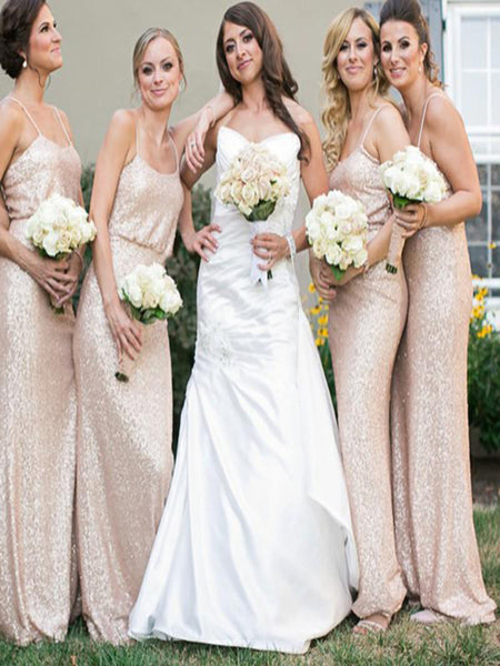 New Arrival Spaghetti Straps Cheap Long Sequin Champagne Bridesmaid Dresses With Sleeves,VPWG017