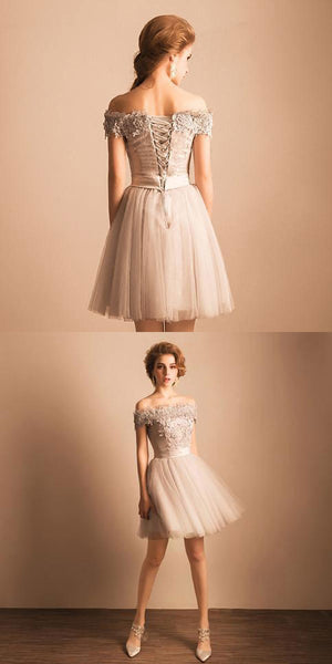 Glamorous Simple Cheap Lace Beaded Off Shoulder Cute Homecoming Dresses,Custom Made Homecoming Dresses,VPBD022