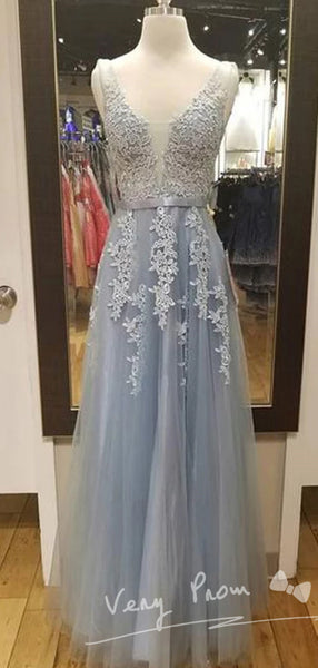2019 Long Spaghetti Straps Simple V Neck Tulle Cheap Pretty Party Prom Dresses ,Bridal Gowns ,VPPD001