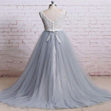 New A-Line Tulle V-Neck Sleeveless Long Prom Dresses With Lace,VPPD221