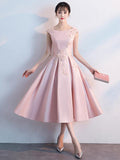 Graceful A-Line Blush Pink Scoop Neckline Cap Sleeves Cheap Homecoming Dresses,VPBD223