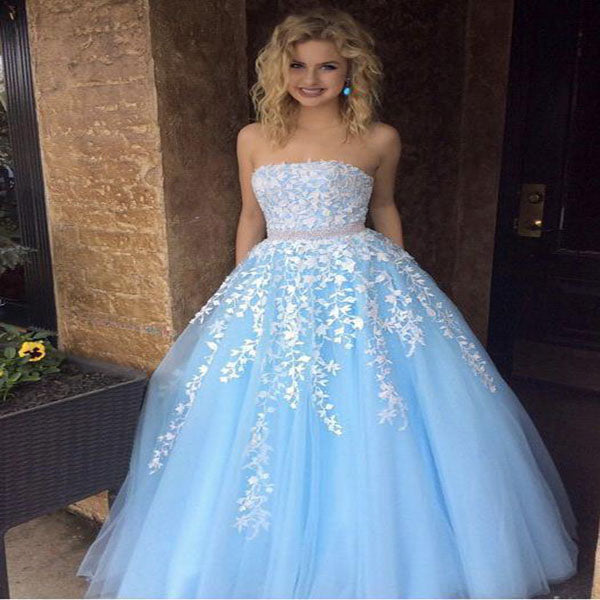 A-Line Strapless Sky Blue Tulle Long Prom Dresses With Appliques,VPPD224