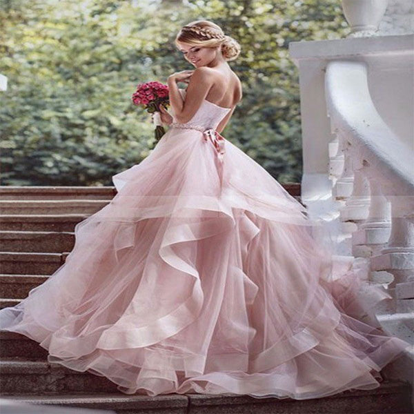 A-Line Pink Strapless Tulle Floor Length Wedding Dresses With Lace Up Back,VPWD227