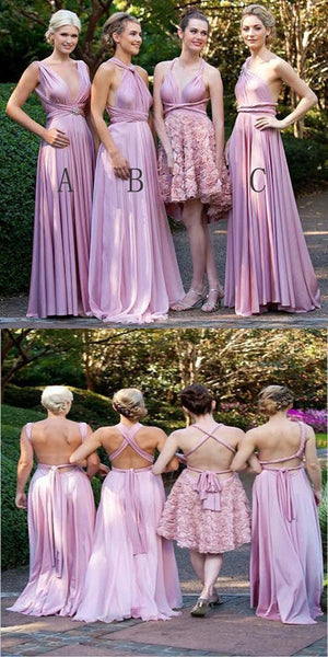Simple Cheap A-Line Sleeveless Pink Long Bridesmaid Dresses,VPWG228
