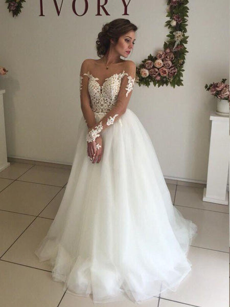 Sexy A-Line See Through Sweetheart Lace Tulle Long Wedding Dresses With Long Sleeves,VPWD229