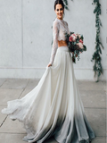Brand-New Two Pieces Long Sleeves Chiffon Floor Length Wedding Dresses With Scoop Neckline,VPWD022