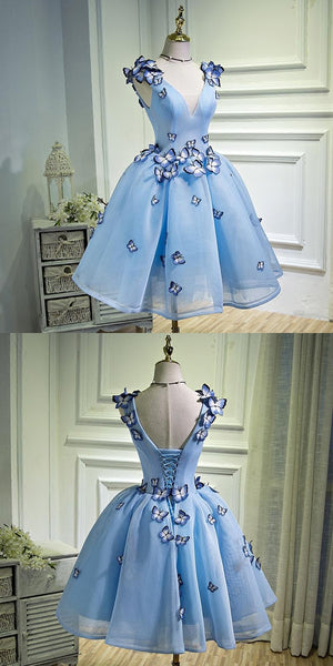 Beautiful A-Line Blue Short Homecoming Dresses With Sleeveless,Simple Cheap Homecoming Dresses Online,VPBD232