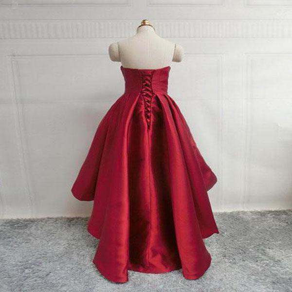 Prevalent Red Satin Sweetheart High Low Prom Dresses Online,VPPD233