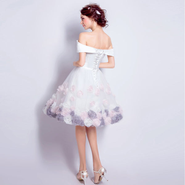 Gorgeous A-Line Off Shoulder White Short Homecoming Dresses,Simple Inexpensive Homecoming Dresses,VPBD233