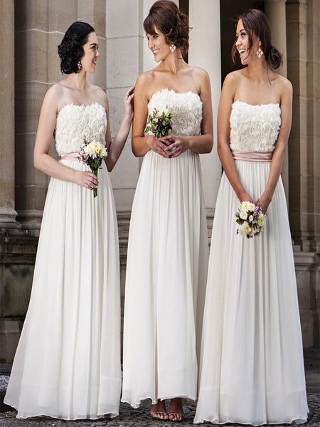 A-Line Sweetheart Ivory Chiffon Long Bridesmaid Dresses,VPWG235