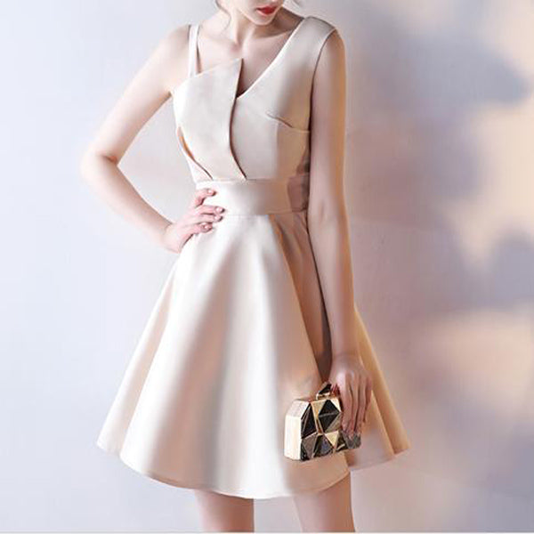 Excellent A-Line Soft Satin Asymmetrical Short Homecoming Dresses,Simple Cheap Homecoming Dresses,VPBD236
