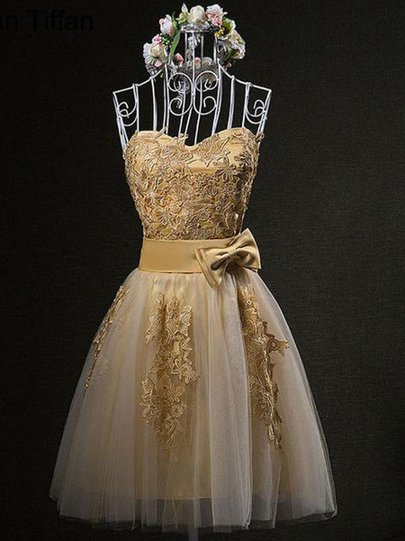 2020 A-Line Gold Tulle Short Homecoming Dresses With Strapless,Custom Made Homecoming Dresses,VPBD238