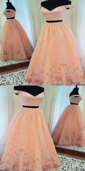 A-Line Two Pieces Off Shoulder Champagne Floor Length Prom Dresses,VPPD239