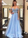 Popular Elegant Sky Blue Spaghetti Straps Floor-Length Prom Dresses With Beading,VPPD032