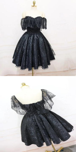 2020 A-Line Off Shoulder Cheap Black Lace Homecoming Dresses ,Affordable Homecoming Dresses,VPBD024